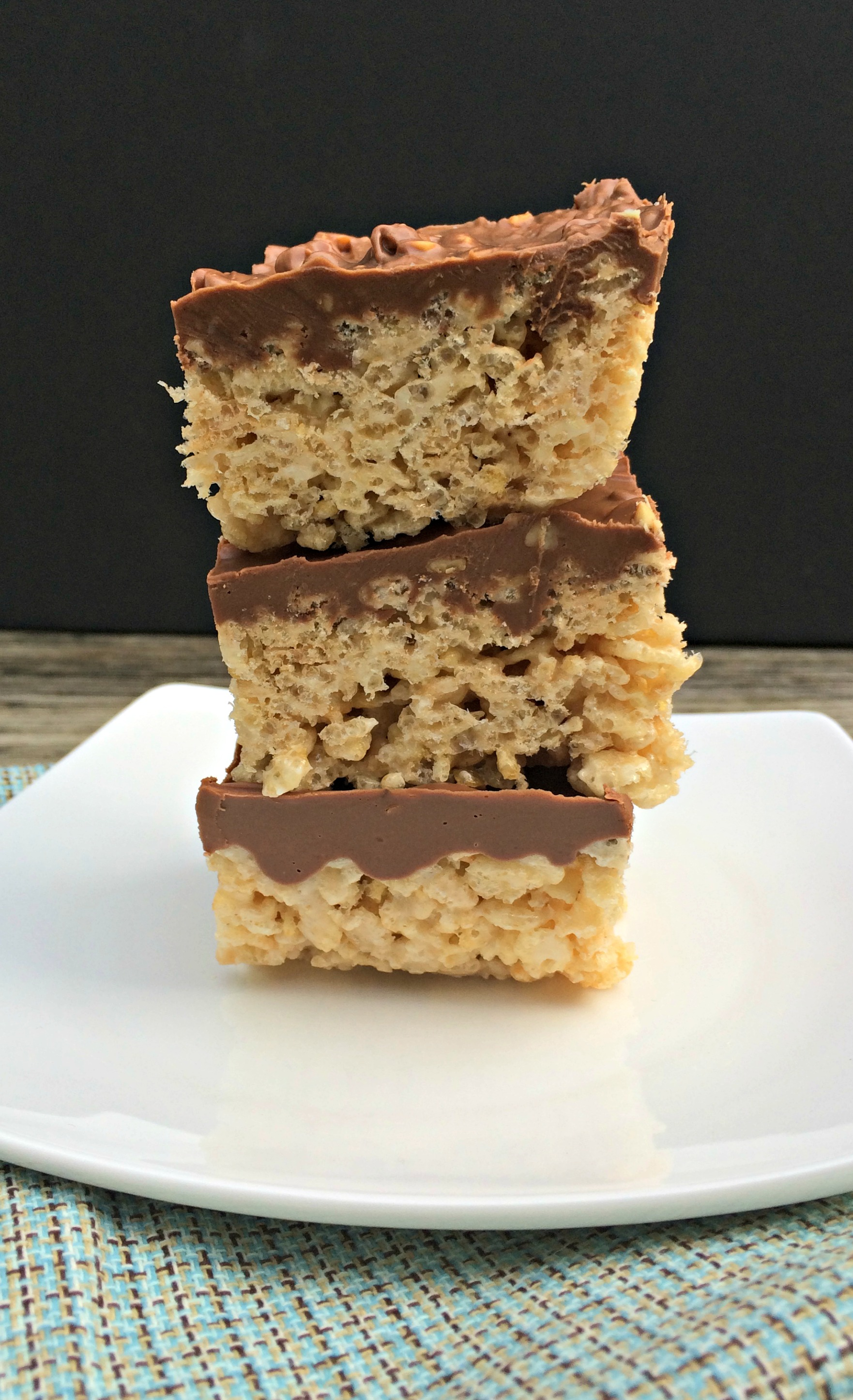 Chocolate Peanut Butter Rice Krispies Bars - Chocolate Slopes