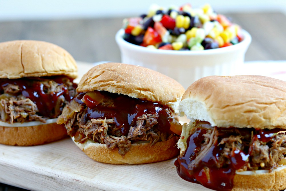 Slow Cooker Shredded Barbecue Beef Sliders {made with Beer!}