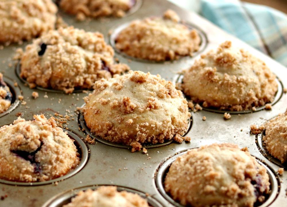 Blueberry Yogurt Muffins made with whole wheat flour